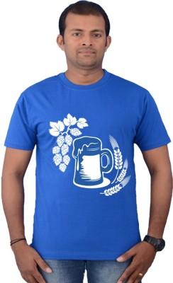 Zorba Mart Solid Men's Round Neck Blue T-Shirt