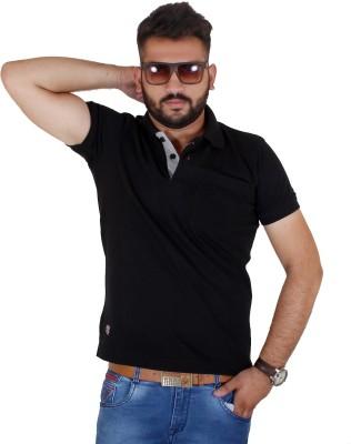 MjString Solid Men's Flap Collar Neck Black T-Shirt