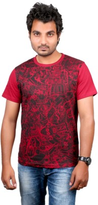 Ditto Graphic Print Men's Round Neck Red T-Shirt