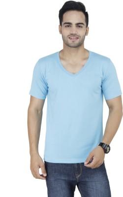 Stylogue Solid Men's V-neck Light Blue T-Shirt