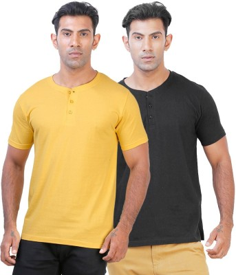 Click Hit Solid Men's Henley Yellow, Black T-Shirt