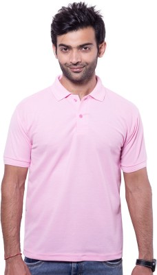 Zuvic Solid Men's Polo Neck Pink T-Shirt