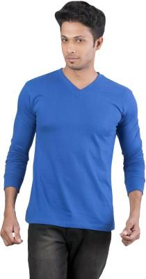 Oviyon Solid Men's V-neck Blue T-Shirt