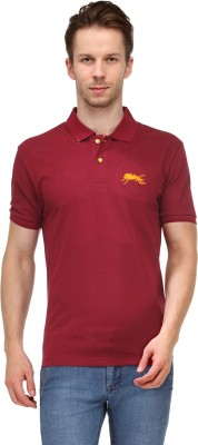 Ants Solid Men's Polo Neck Maroon T-Shirt