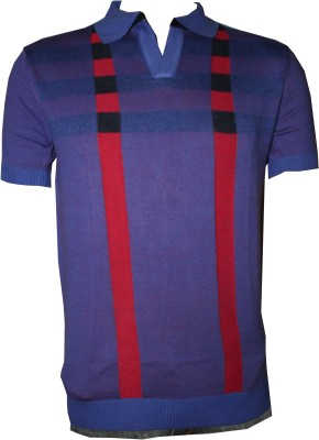 Tick Lish Striped Men's Polo Neck Purple T-Shirt