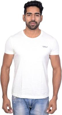 Being Dessi Solid Men's Round Neck White T-Shirt