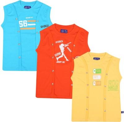 SPN Garments Printed Girl,s Round Neck Orange, Yellow, Blue T-Shirt