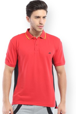 2go Solid Men's Polo Red, Black T-Shirt