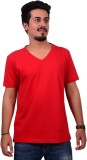 Ditto Solid Men's V-neck Red T-Shirt