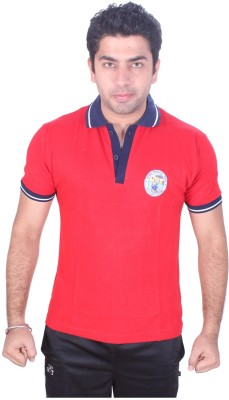 SST Solid Men,s Polo Neck Red T-Shirt