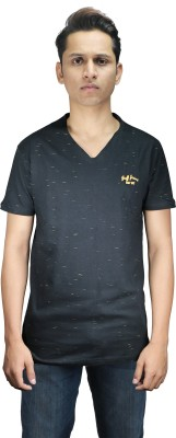 stopgrey Self Design Men,s, Boy's V-neck Black T-Shirt