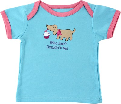 Luvable Friends Graphic Print Baby Girl's Round Neck Blue T-Shirt