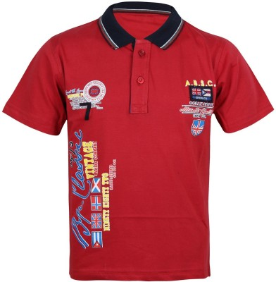 Jazzup Printed Boy's Flap Collar Neck Red T-Shirt