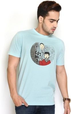 The Glu Affair Printed Men's Round Neck Blue T-Shirt