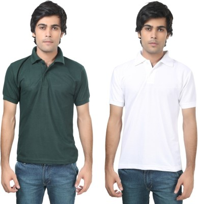 Stylish Trotters Solid Men's Polo Dark Green, White T-Shirt