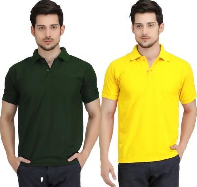 Krazy Katz Solid Men's Polo Neck Dark Green, Yellow T-Shirt