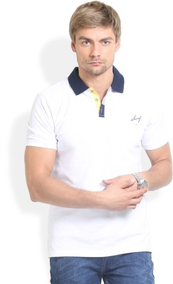 Thisrupt Solid Men's Polo Neck White T-Shirt
