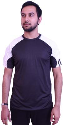 US Club Solid Men's Round Neck Black, White T-Shirt