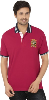 Qee Pee Jeans Solid Men's Polo Neck Red, Blue T-Shirt