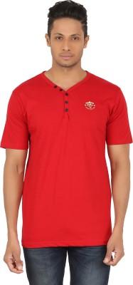 R-CROSS Solid Men,s Henley Red T-Shirt