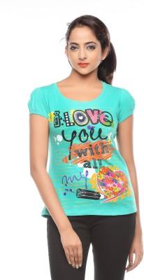 Trendy Girlz Printed Women's Round Neck Green T-Shirt
