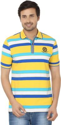 Q-Plus Striped Men's Polo Neck Yellow, Blue T-Shirt