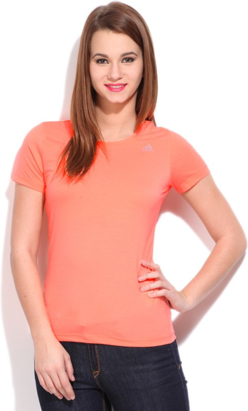 Adidas Solid Women's Round Neck Pink T-shirt