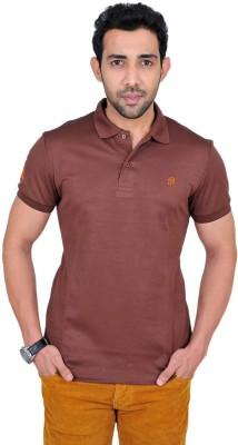Fabnavitas Embroidered Men's Polo Neck Brown T-Shirt