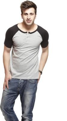 Gritstones Solid Men's Round Neck Black, Grey T-Shirt