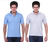 NGT Solid Men's Polo Neck Grey, Light Bl...
