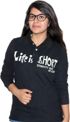 Mask Lifestyle Printed Women's Polo Black T-Shirt