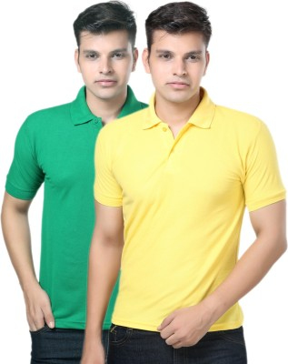 eSOUL Solid Men's Polo Neck Yellow, Green T-Shirt