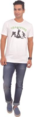 Sonic Tees Graphic Print Men's Round Neck White T-Shirt