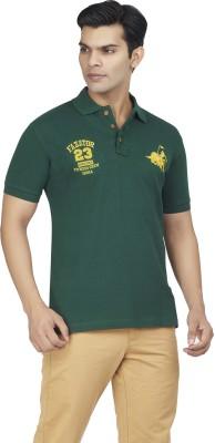 Fazator Embroidered Men's Polo Neck Green T-Shirt