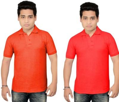 BrandTrendz Solid Men's Polo Neck Orange, Red T-Shirt