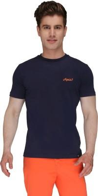 Again Vintage Solid Men's Round Neck Dark Blue T-Shirt