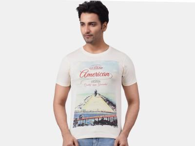 Motiv8Jeans Graphic Print Men's Round Neck White T-Shirt