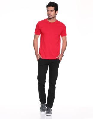 Purys Solid Men,s Round Neck Red T-Shirt