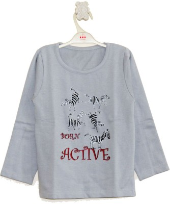 My Little Lambs Solid Boy's Round Neck Grey T-Shirt