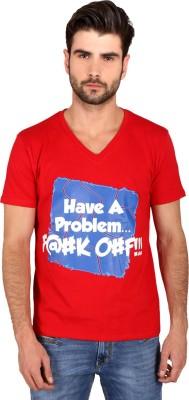 Attabouy Printed Men's Round Neck Red T-Shirt