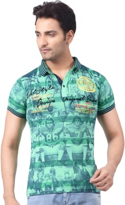 Victor & Rolf Graphic Print Men's Fashion Neck Green T-Shirt