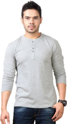 Simpletons Solid Men's Henley Grey T-Shirt