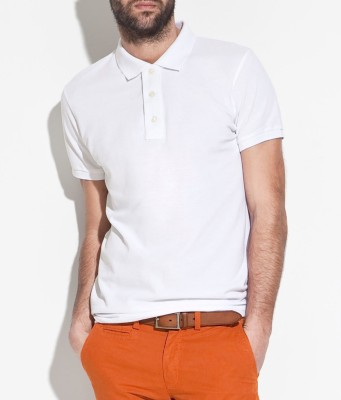 Fabnic Solid Men's Polo Neck White T-Shirt