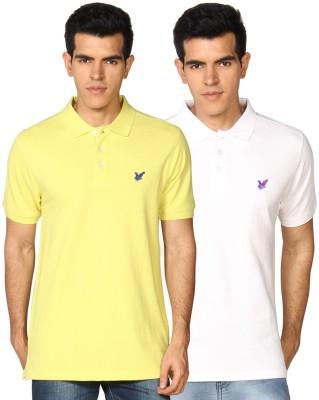 Provogue Solid Men's Polo Neck White, Yellow T-Shirt