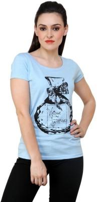ESPRESSO Printed Women's Round Neck Light Blue T-Shirt
