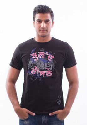 Punjabi Heritage Printed Men,s Round Neck Black T-Shirt