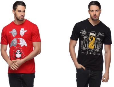LLO Fashions Printed Men,s Round Neck Multicolor T-Shirt