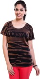 TVENO Striped Women's Round Neck Brown T...