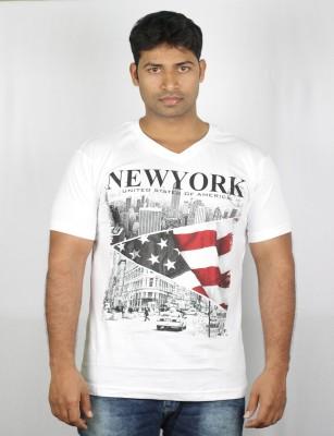 Mr Sha Printed Men's Round Neck White T-Shirt