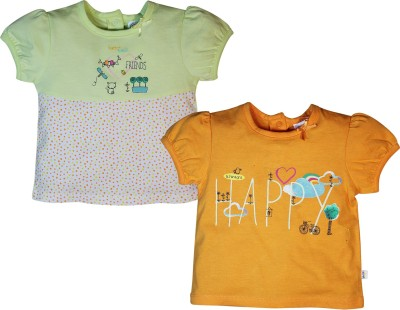 FS Mini Klub Printed Baby Girl's Polo Neck Multicolor T-Shirt